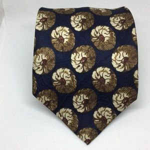 Chaps Silk Blue White and Red Flower Tie